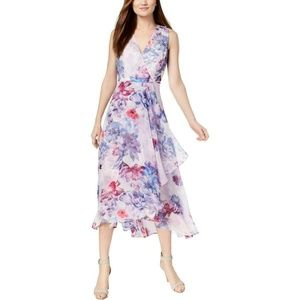 New Calvin Klein Floral Wrap Maxi Dress